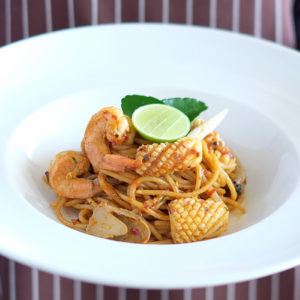 Fried Spaghetti Tom Yum Sauce Seafood
