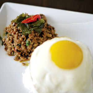 Rice with Stir fried spicy basil and fried egg